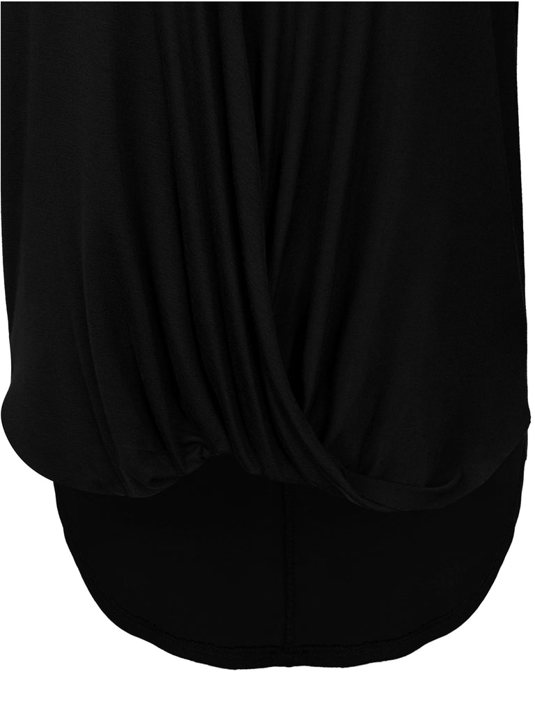 KOGMO Womens V Neck 3/4 Dolman Batwing Sleeve Wrap Front Top Shirts Made in USA