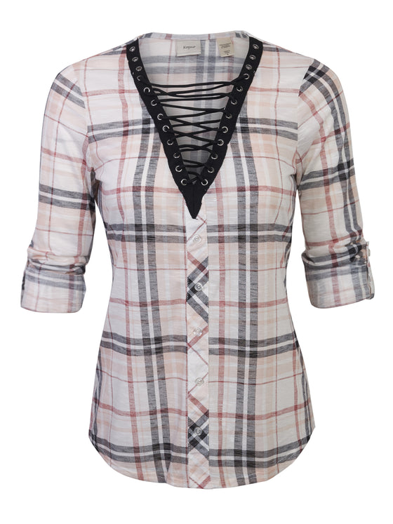 [Clearance] Womens Roll Up Sleeve Lace Up Plaid Knit Top