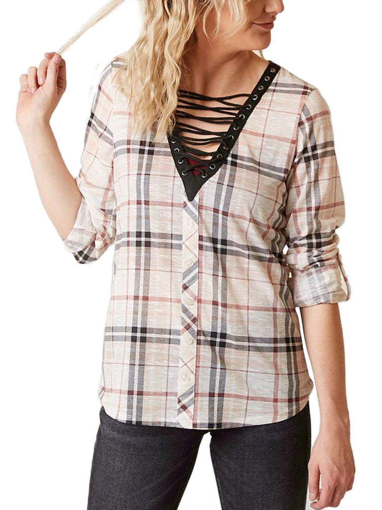 KOGMO Womens Roll Up Sleeve Lace Up Plaid Knit Top