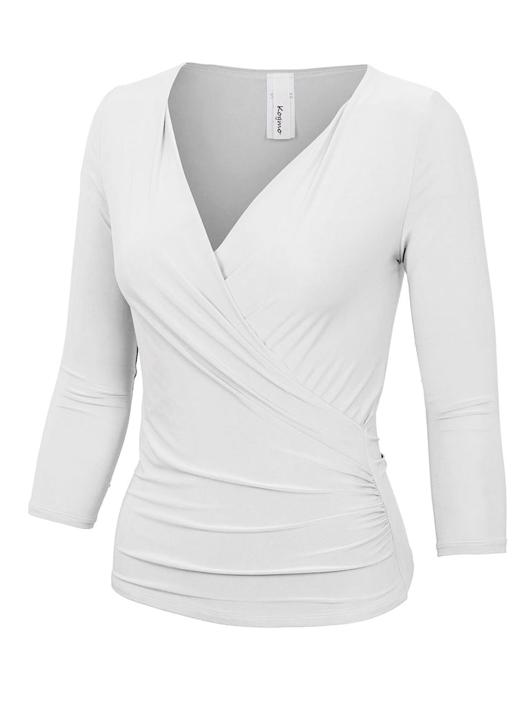 KOGMO Women's 3/4 Sleeve Side Wrap Ruched Shirred Slim Fit V-neck Top Shirts