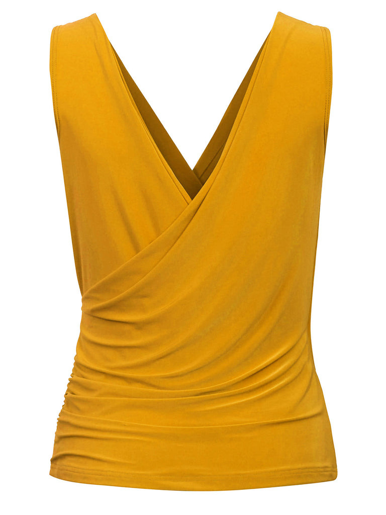 KOGMO Women's Sleeveless Side Wrap Ruched Shirred Slim Fit V-neck Top Shirts