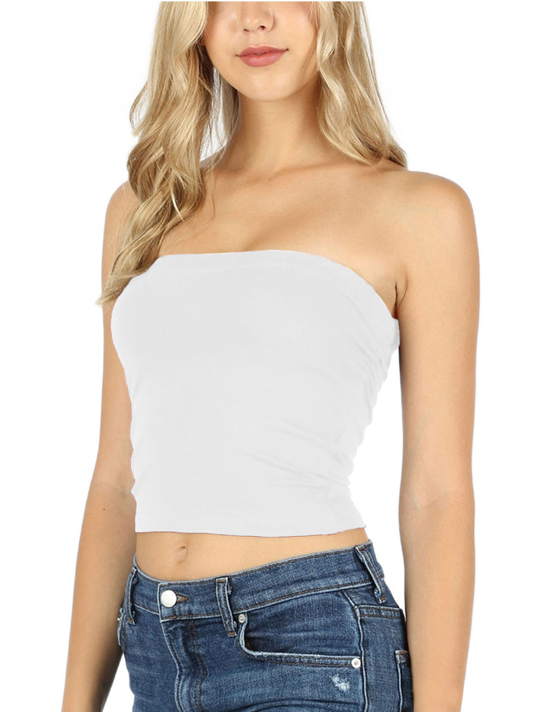 KOGMO Womens Solid Basic Fitted Cotton Tube Crop Top