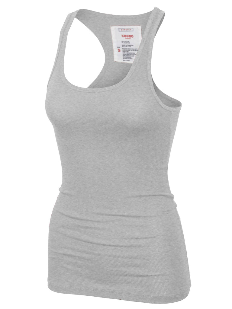 KOGMO Women's Basic Stretchy Cotton Ribbed Knit Racerback Tank Top (S-XL)