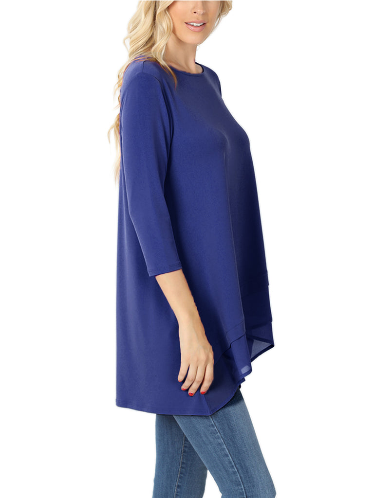 KOGMO Women's 3/4 Sleeve Round Neck Overlap Chiffon Blouse Tunic Top