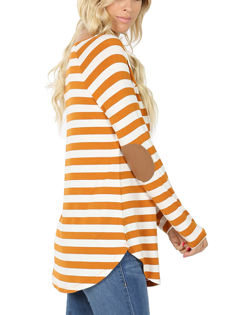 KOGMO Women's Round Neck Long Sleeve Stripe Tunic Top with Elbow Patch (S-XL)
