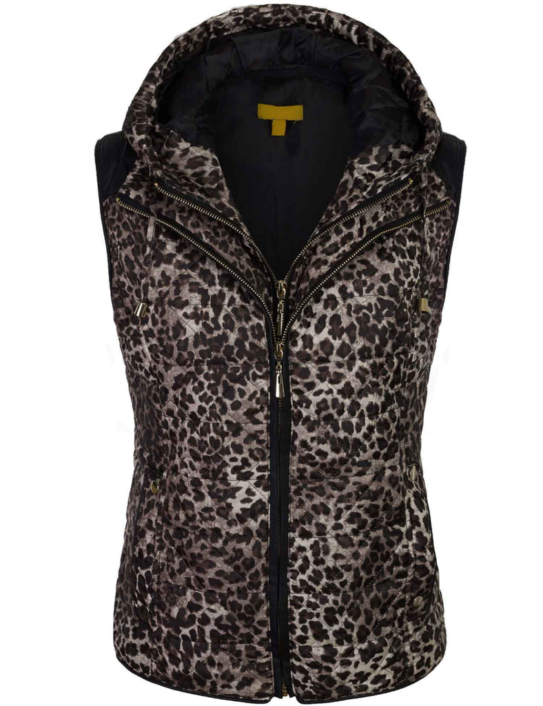 Quilted Fully Lined Leopard Vest with Detachable Hoodie