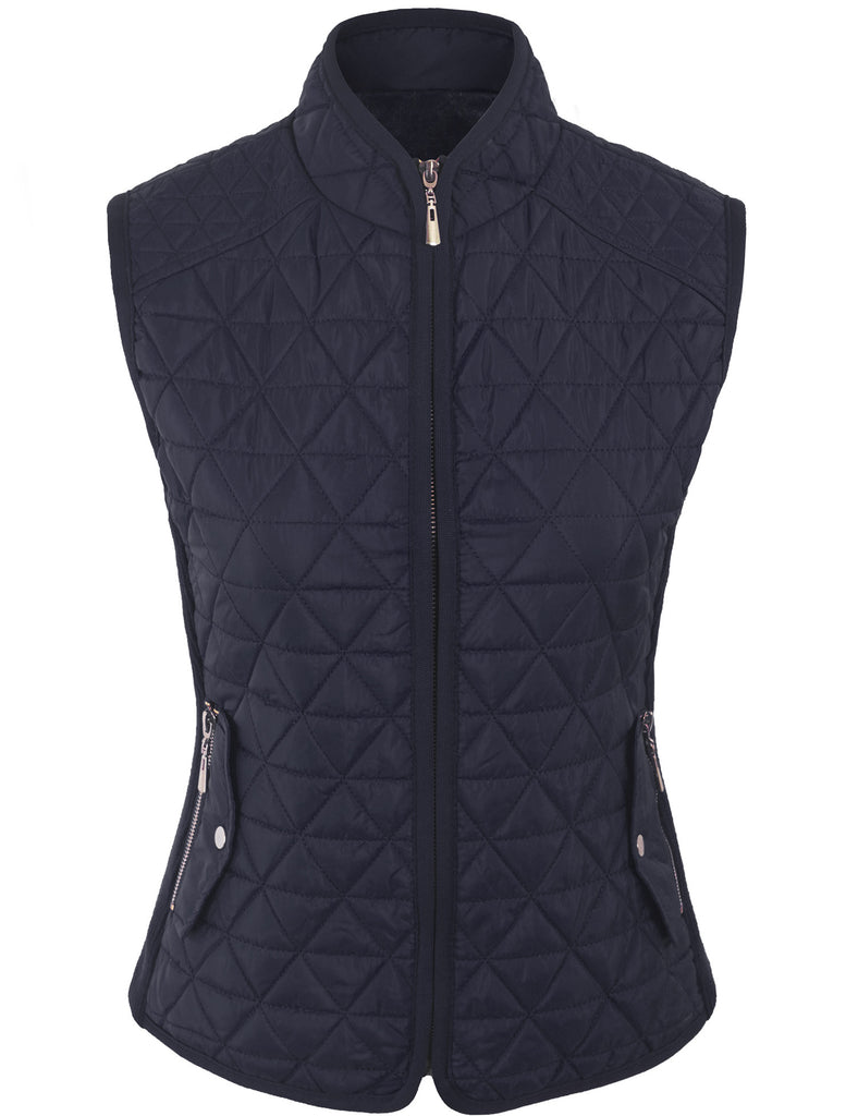 Quilted Fur Lined Lightweight Zip Up Vest