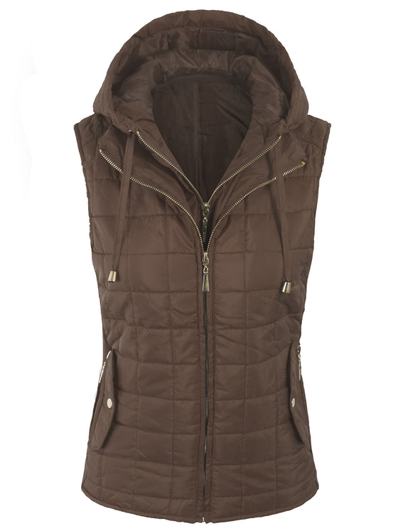 [Clearance] Womens Quilted Fully Lined Lightweight Vest with Hoodie