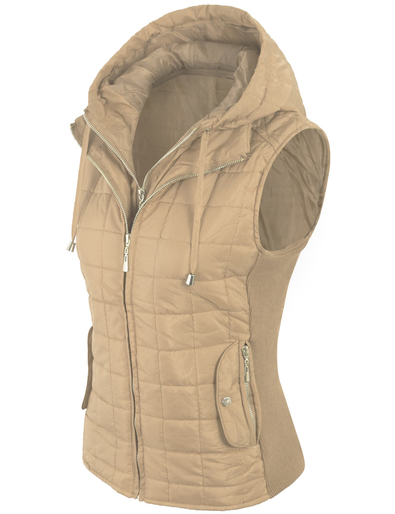 Quilted Lightweight Vest with Removable Hoodie