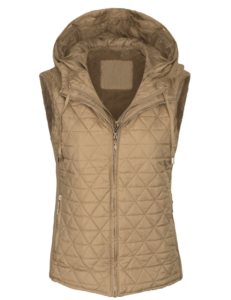 Quilted Fully Fur Lined Lightweight Vest with Hoodie