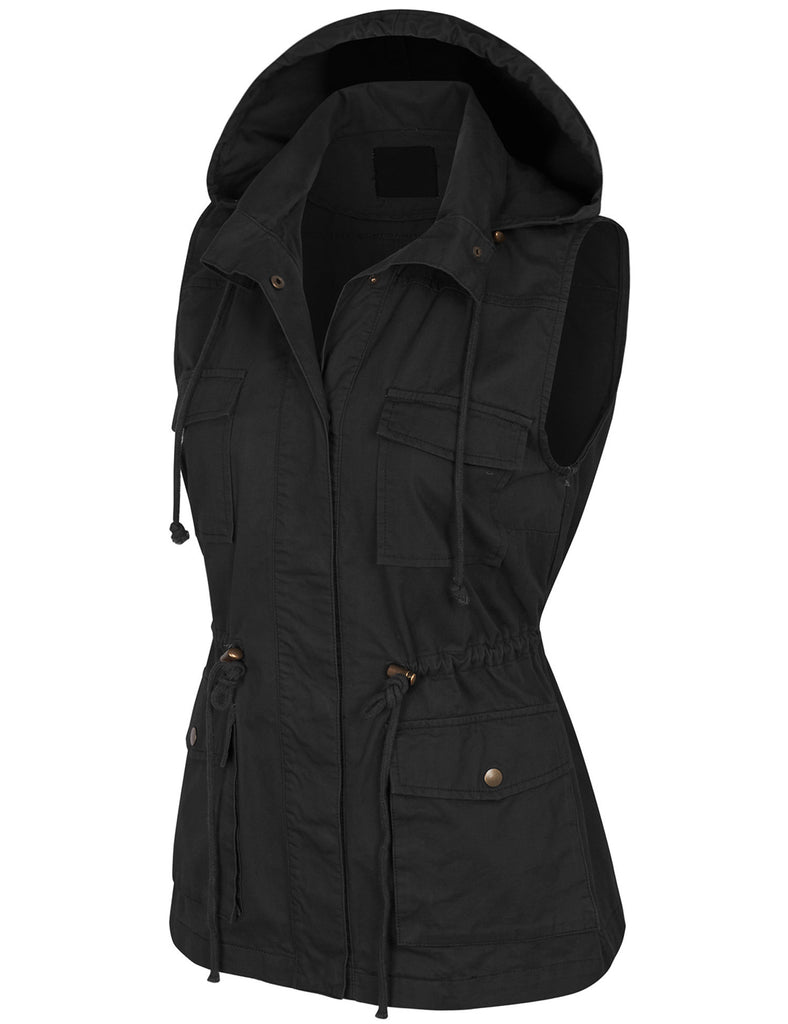 Military Anorak Safari Utility Vest with Hood