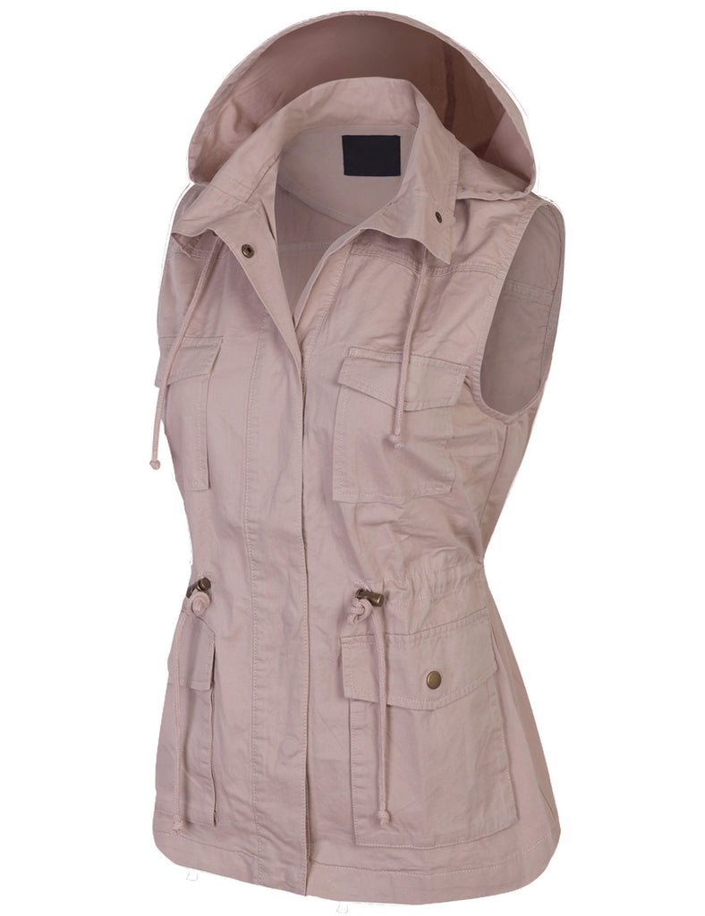 Womens Military Anorak Safari Utility Vest with Hood