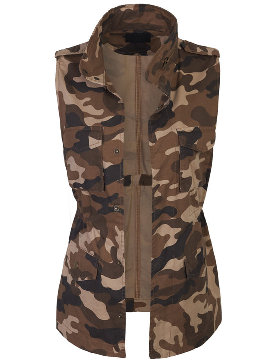 Womens Military Camo Anorak Safari Utility Vest