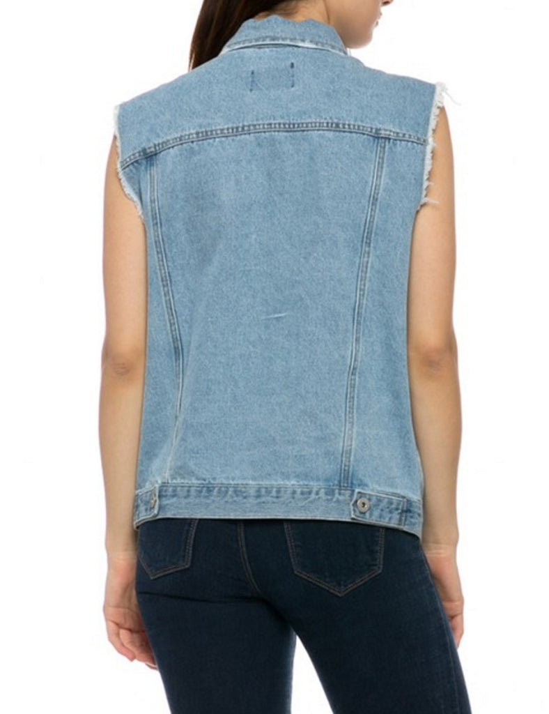 Womens Loose Fit Trucker Distressed Denim Vest