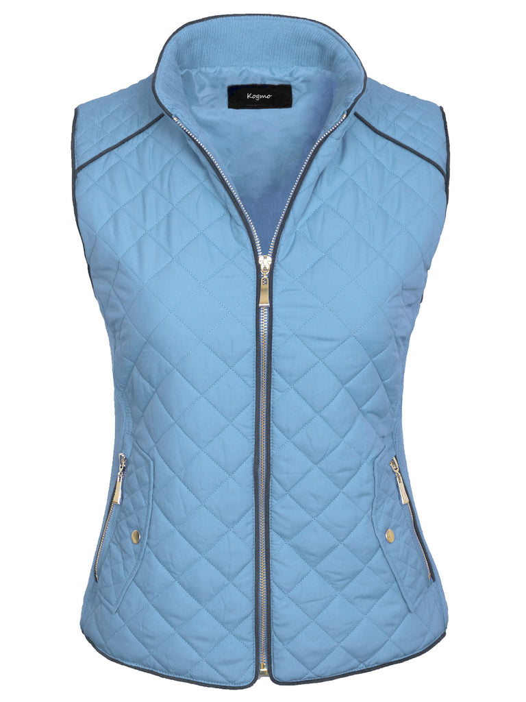 Womens Quilted Vest Fully Lined Lightweight Padded Vest Plus Size (S-3X)