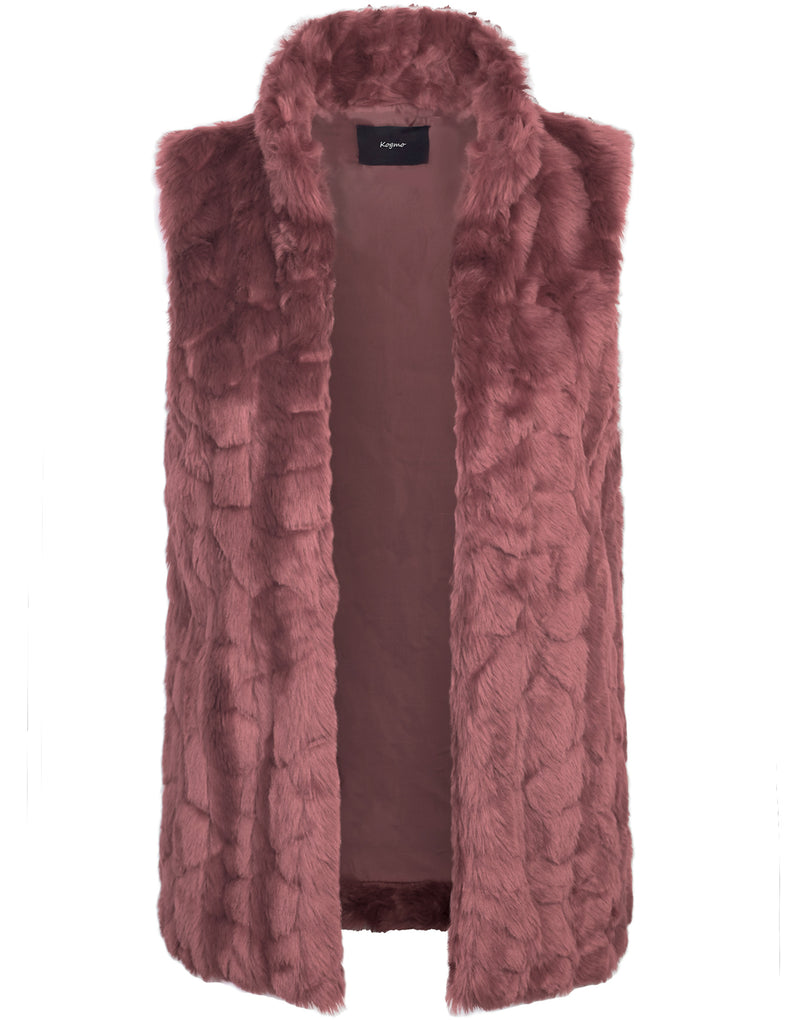 [Clearance] Womens Classic Soft Faux Fur Lightweight Vest with Collar