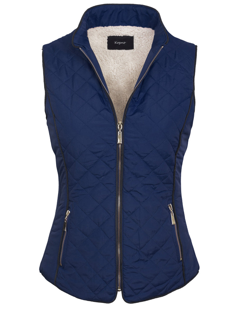 Womens Quilted Fully Lined Lightweight Zip Up Vest with Fur Lining