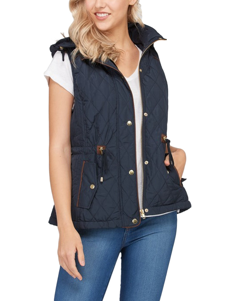 Womens Fur Lined Lightweight Zip Up Quilted Vest with Detachable Hood