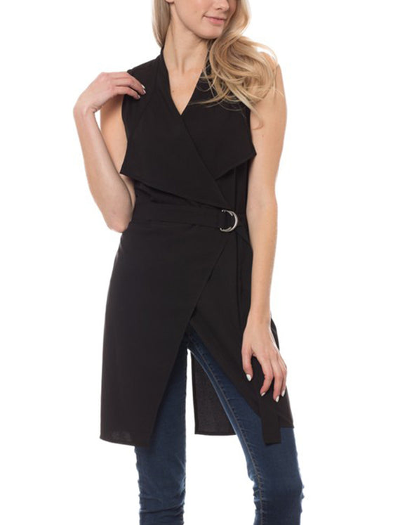 Women's Solid Trench Coat Vest with Belt