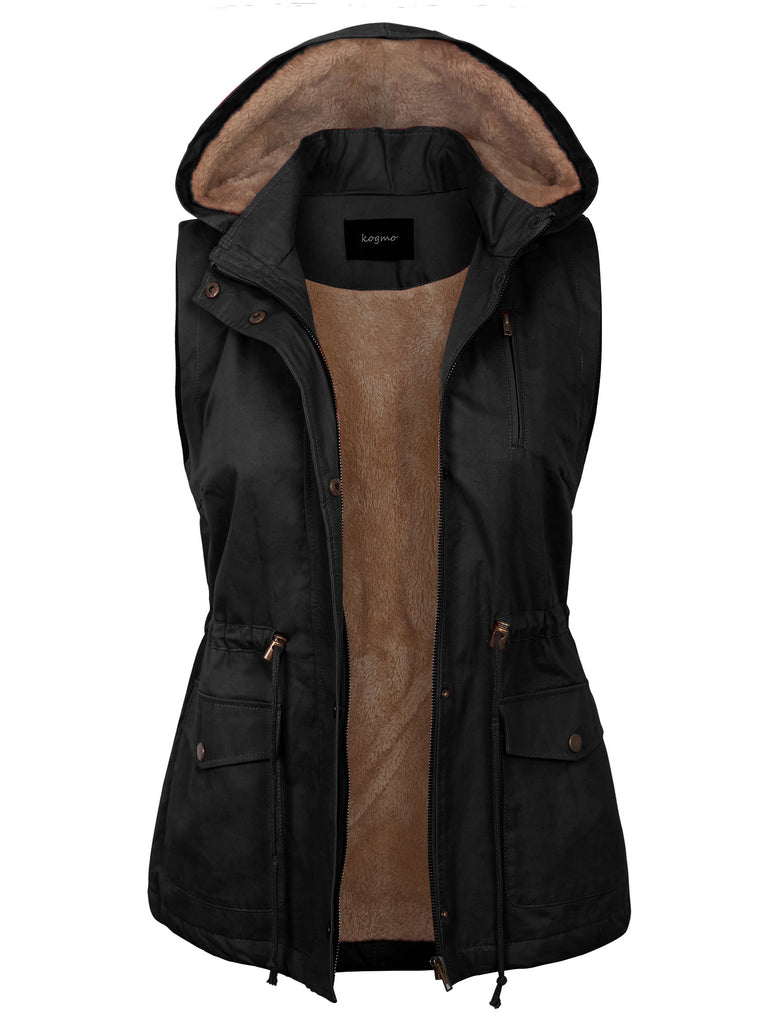 KOGMO Womens Fur Lined Anorak Safari Vest with Detachable Hoodie (S-3X)