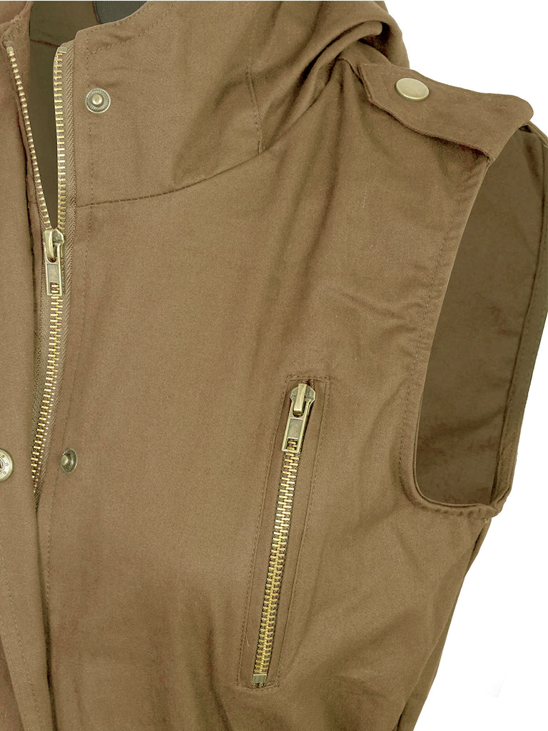 KOGMO Womens Zip Up Military Anorak Utility Vest with Hood American Size (S-3X)