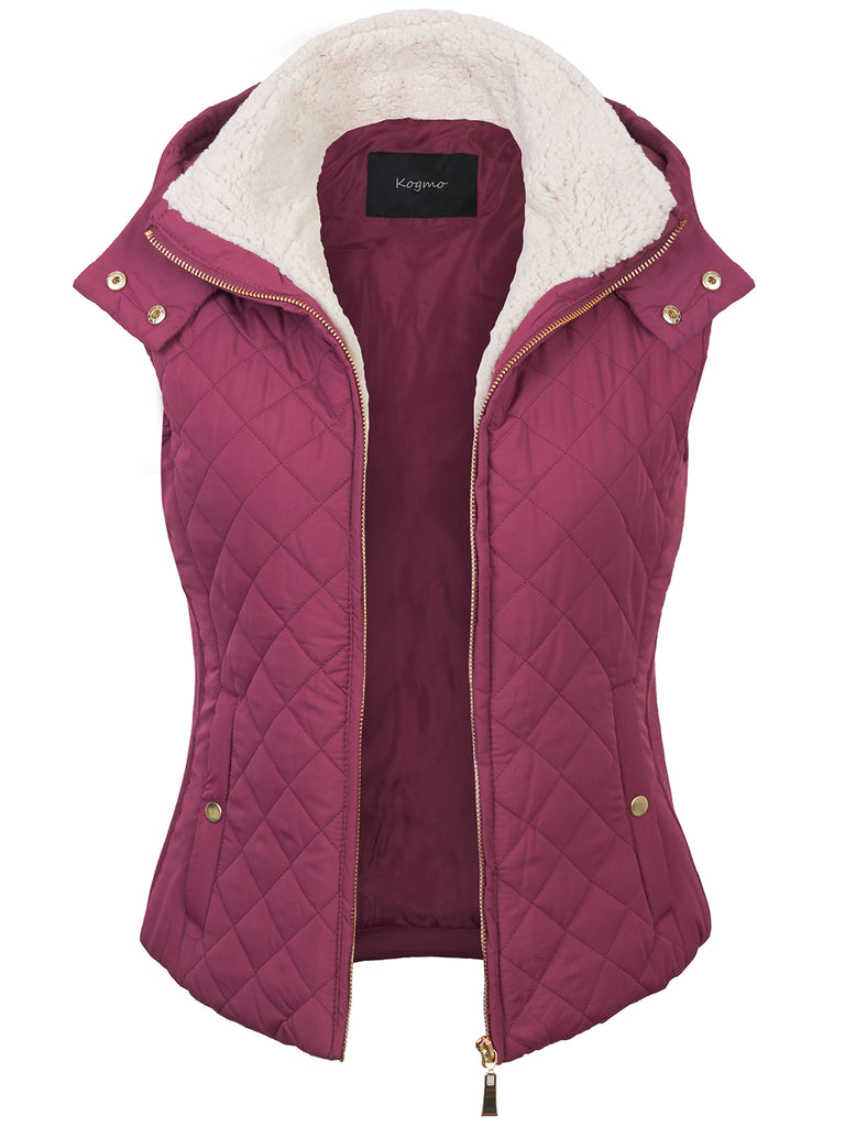 KOGMO Women's Quilted Lightweight Hoodie Vest with Sherpa Line Detail