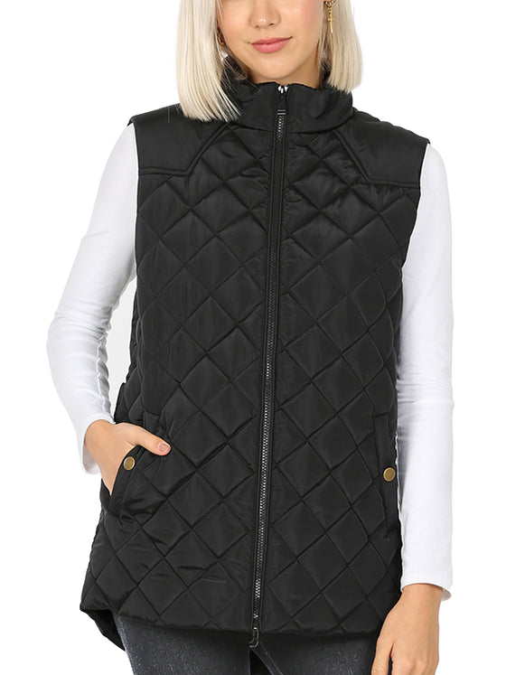 KOGMO Women's Quilted Fully Lined Lightweight Loose Fit Zip Up Padding Vest