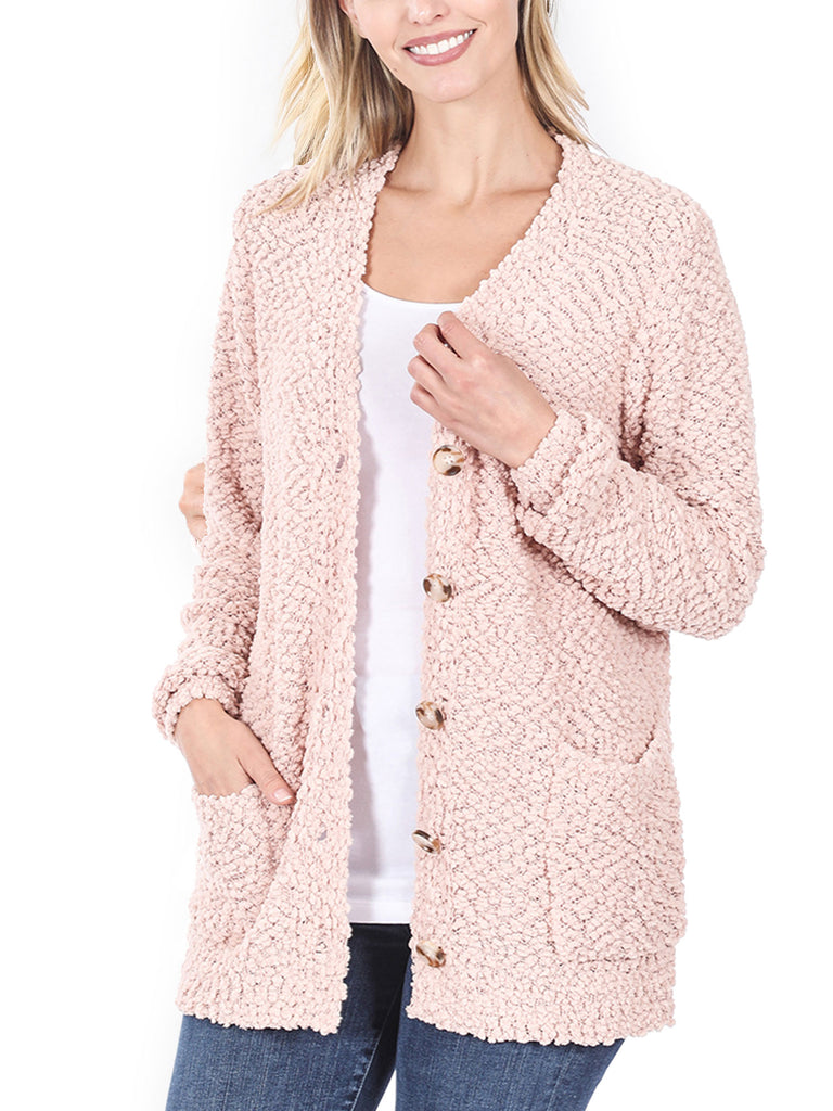 KOGMO Women's Popcorn Sweater Cardigans with Buttons and Pockets