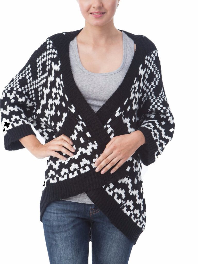 Women 3/4 Sleeve Knitted Geometric Pattern Shawl Open Drape Cardigan Sweater
