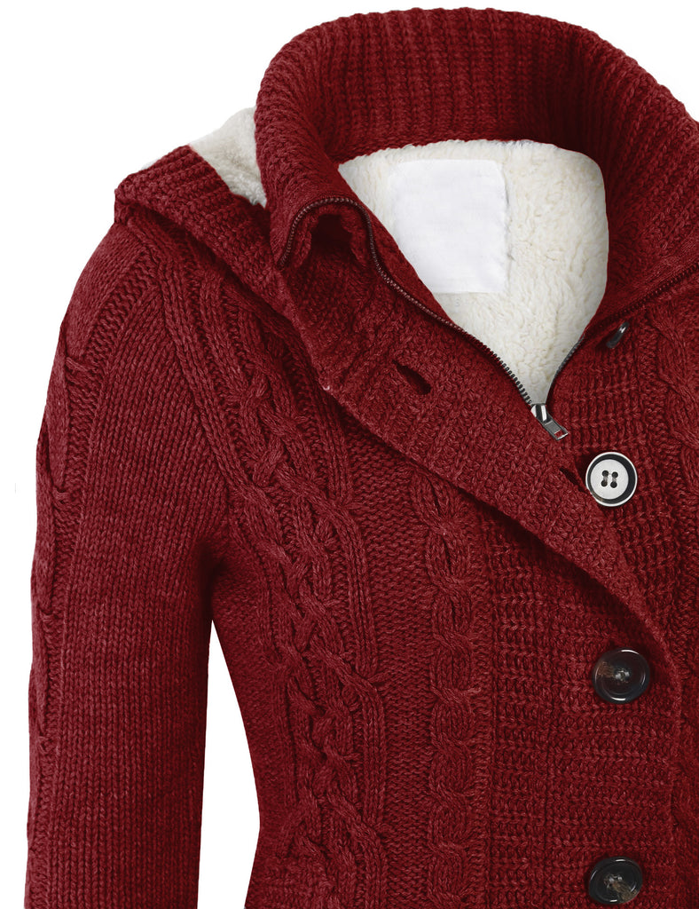 Cable Knit Sweater Cardigans with Buttons & Zipper & Hoodie