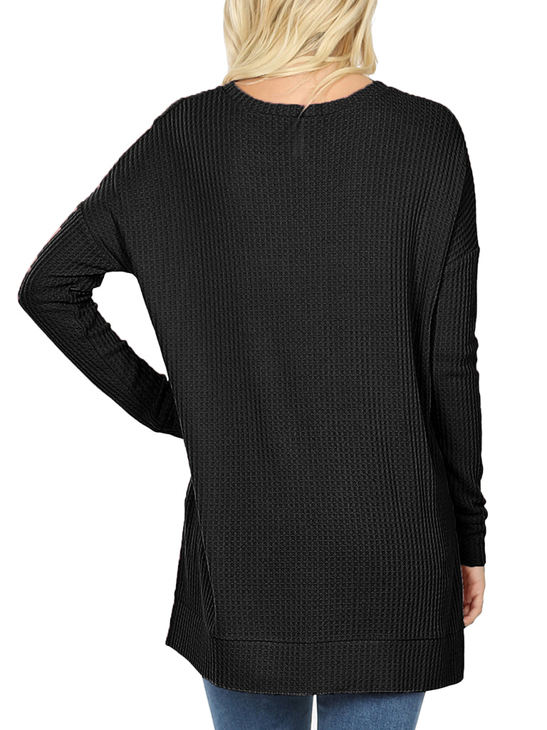 KOGMO Women's Loose Fit Brushed Thermal Waffle Round Neck Sweater