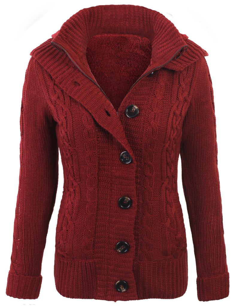 Cable Knit Sweater Cardigans with Buttons & Zipper & Hoodie - KOGMO