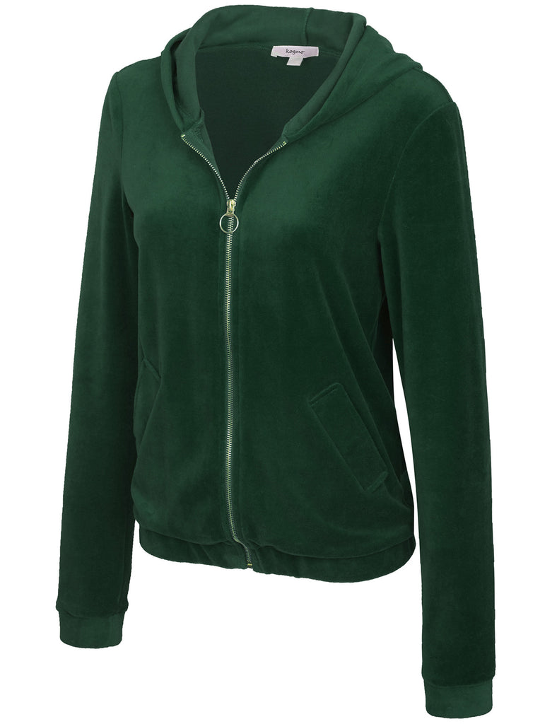 Women's Velvet Hoodie Sweater Zip Up Cardigans