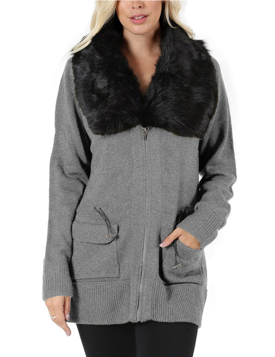 Womens Long Zip Up Cardigan Sweater with Detachable Fur Trim