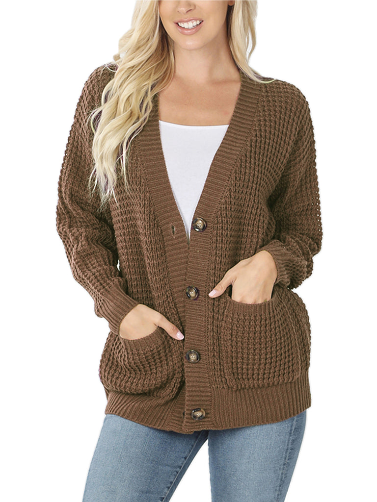 KOGMO Women's Waffle Knit Sweater Cardigans with Buttons and Pockets
