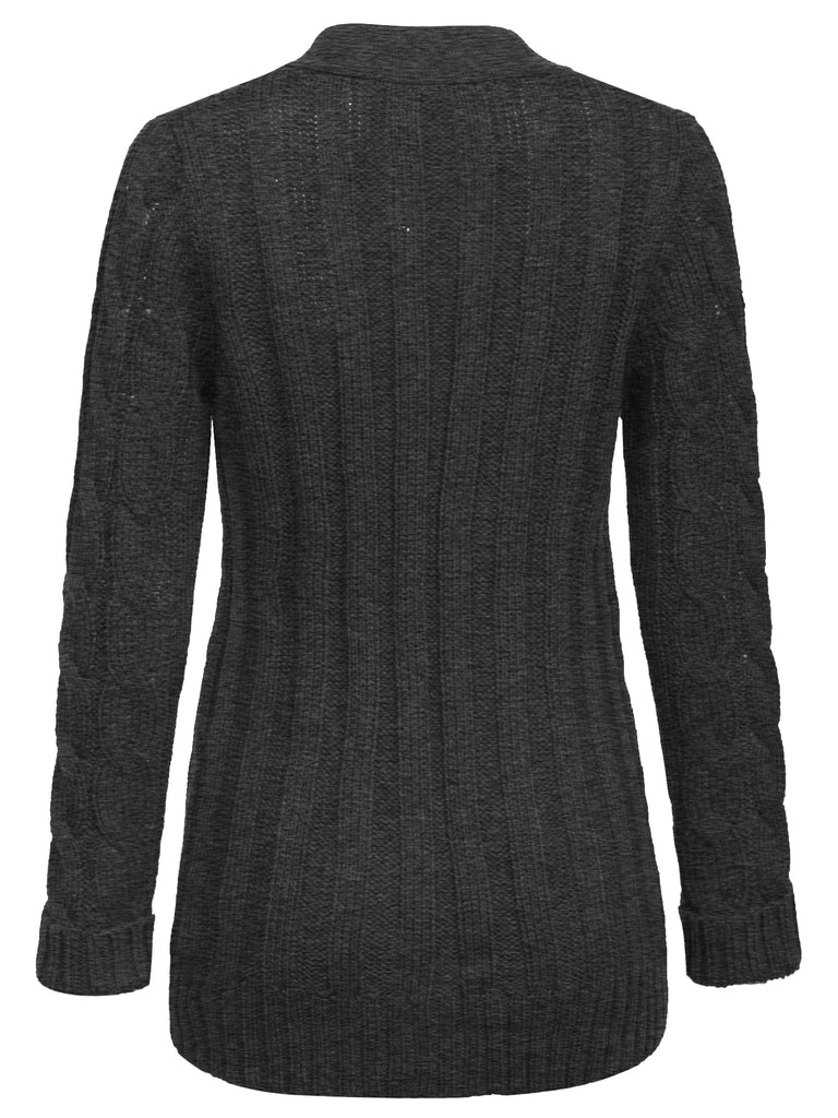 KOGMO Women's Cable Knit Sweater Cardigans with Buttons and Pockets