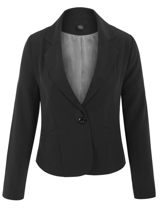 Womens Classic Long Sleeve Solid Color Office Blazer