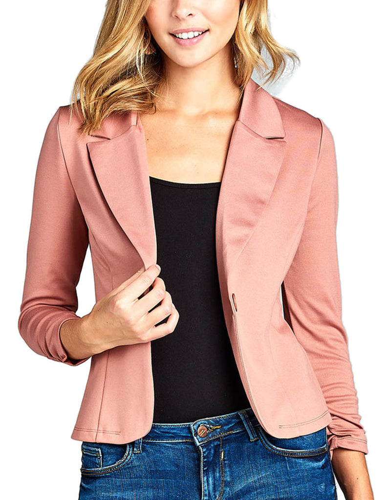 Womens Classic 3/4 Shirring Sleeve Solid Color Casual Blazer