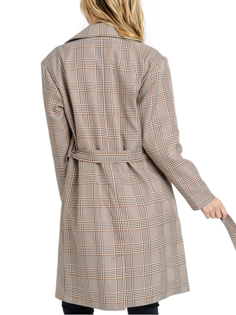 KOGMO Women's Plaid Checker Double Breast Trench Coat with Double Buttons