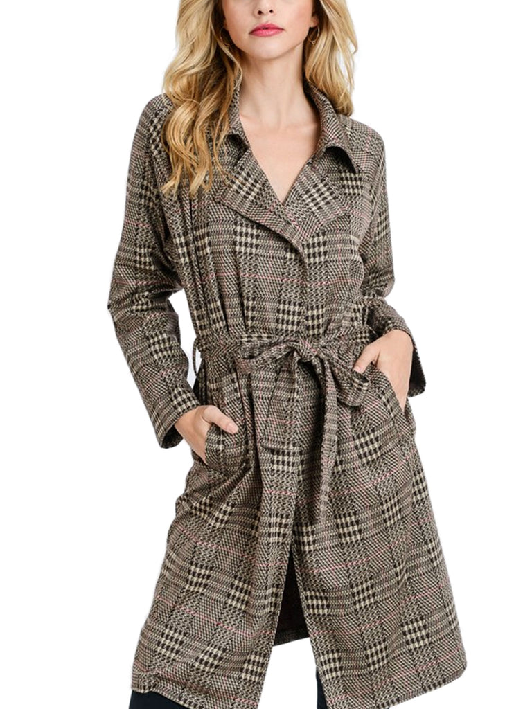 KOGMO Women's Knit Plaid Checker Double Breast Trench Coat with Belt