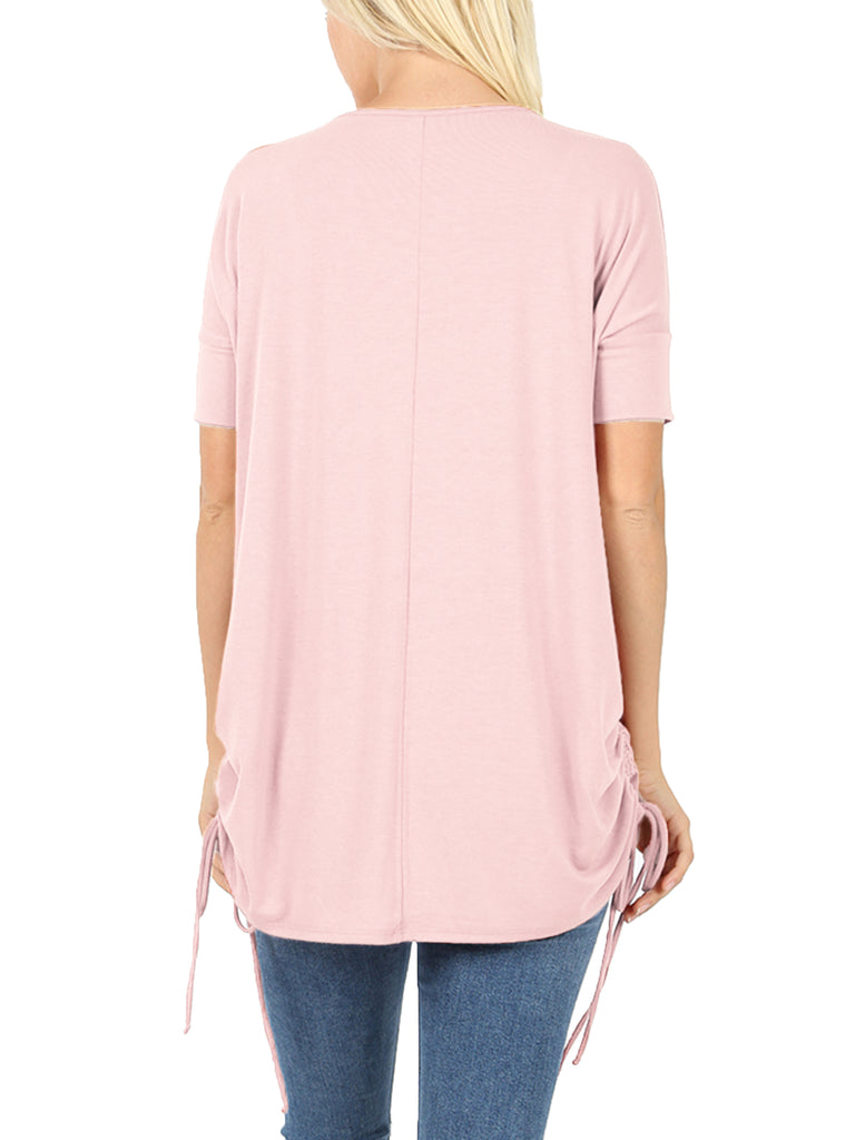 KOGMO Women's Short Sleeve Round Neck Side Ruched Loose Fit Tunic Top (S-XL)