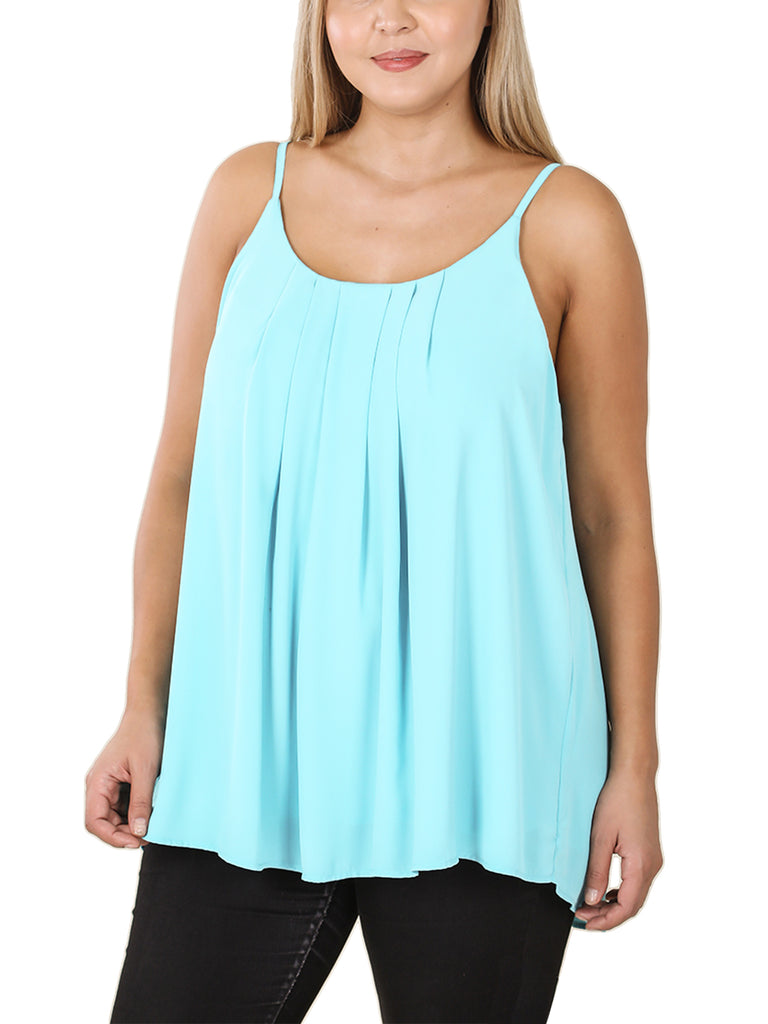 KOGMO Women's Sleeveless Pleated Spaghetti Cami Woven Top (S-3X)