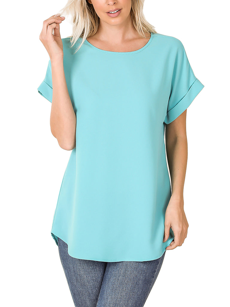 KOGMO Women's Short Sleeve Boat Neck Solid Woven Top Tee (S-3X)