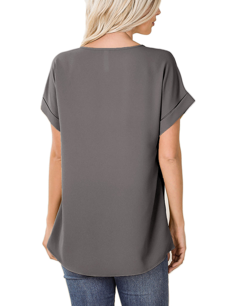 KOGMO Women's Short Sleeve V Neck Solid Woven Top Tee (S-3X)