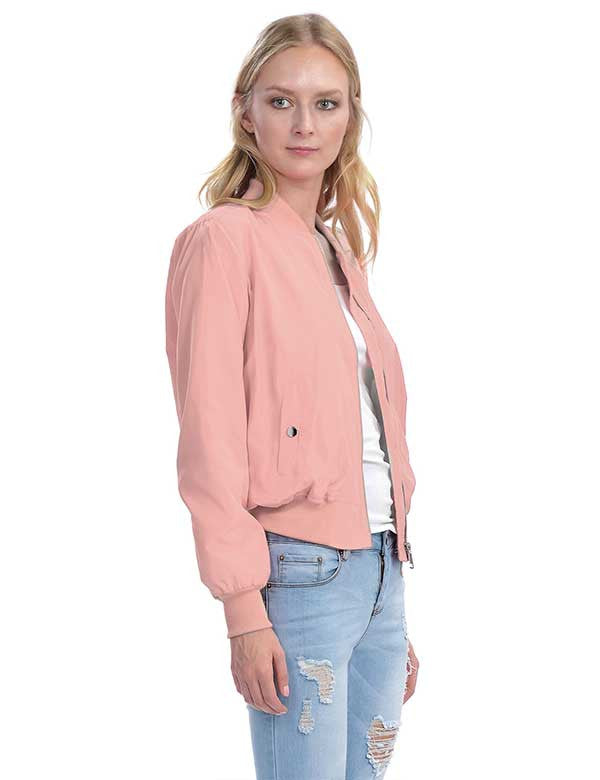 Classic Zip Up Bomber Jacket with Pockets