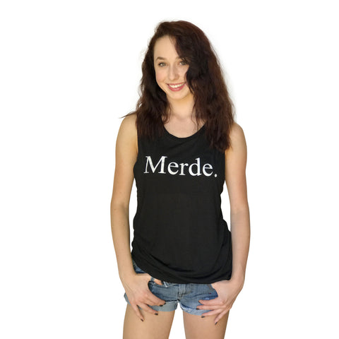 Merde Super Soft Slouchy Black Tank Top - Farina Bodywear