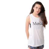 Ladies' Merde Flowy Tank - Black Ink - Farina Bodywear