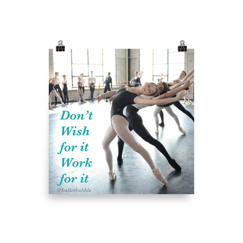 Don't Wish for It Work for It Poster - Farina Bodywear