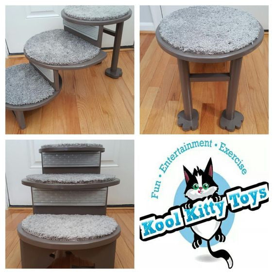 Kool Kitty Small Pet Stairs (3-Step Round Stairs)