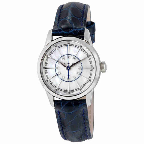 Hamilton White Mother Of Pearl Dia Blue Leather Ladies Watch H40311691